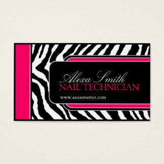 Hot Pink Zebra Print Salon Business Cards