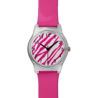 Hot Pink Zebra print watch