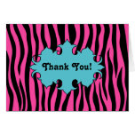 Hot pink zebra print with blue banner thank you