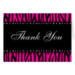 Hot Pink Zebra Printed Diamonds Thank You Note Card