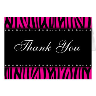 Hot Pink Zebra Printed Diamonds Thank You Card
