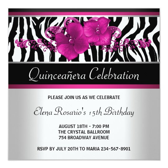 Hot Pink Zebra Quinceanera Invitations