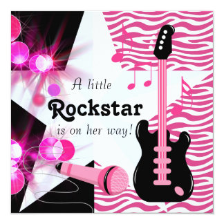 Hot Pink Zebra Rockstar Baby Girl Shower Card
