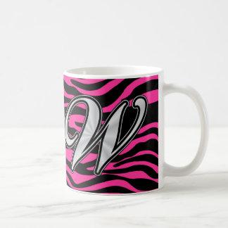 HOT PINK ZEBRA SILVER W COFFEE MUGS
