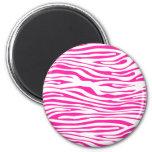 Hot Pink Zebra stripe pattern animal print 6 Cm Round Magnet