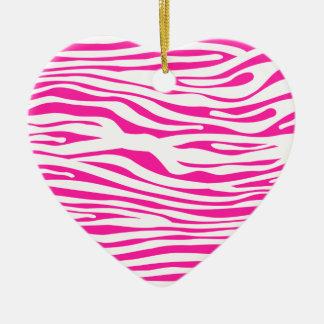 Hot Pink Zebra stripe pattern animal print Ceramic Heart Decoration
