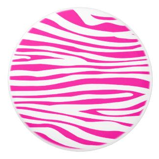 Hot Pink Zebra stripe pattern animal print Ceramic Knob