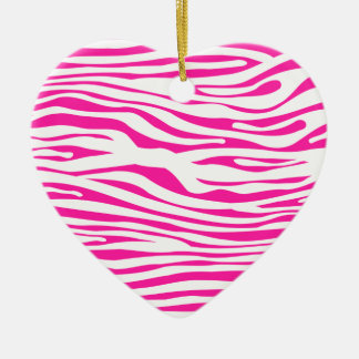 Hot Pink Zebra stripe pattern animal print Christmas Ornament
