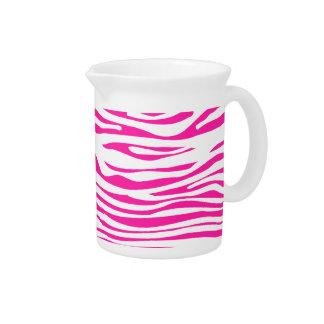 Hot Pink Zebra stripe pattern animal print Pitcher