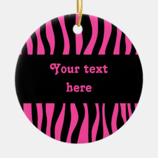 Hot pink zebra stripes add your text christmas ornament
