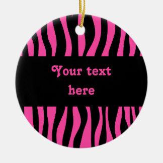 Hot pink zebra stripes add your text round ceramic decoration