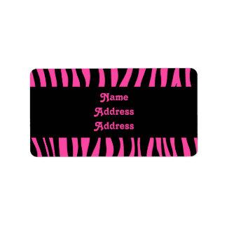 Hot pink zebra stripes address label