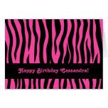 Hot pink zebra stripes birthday for teen or tween greeting card