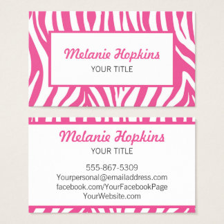 Hot Pink Zebra Stripes Generic Name Business Card