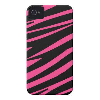 Hot Pink Zebra Stripes Pattern iPhone 4 Case-Mate