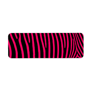 Hot Pink Zebra Stripes Return Address Label