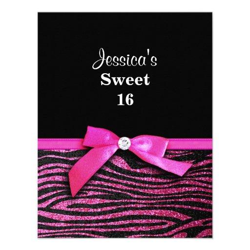 Hot pink zebra Sweet 16 Birthday Party Invitations