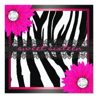 Hot Pink Zebra Sweet Sixteen 13 Cm X 13 Cm Square Invitation Card