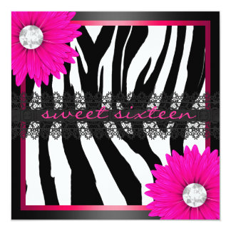 Hot Pink Zebra Sweet Sixteen 5.25x5.25 Square Paper Invitation Card