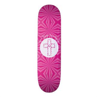 Hot Pink Zig-Zag Christian Cross White 19.7 Cm Skateboard Deck