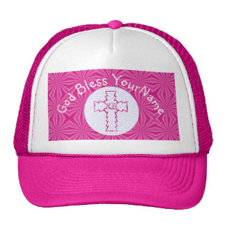 Hot Pink Zig Zag Christian Cross White Bright Pink Cap