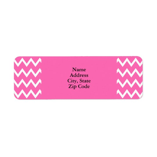 Hot Pink Zigzag Pattern Return Address Label