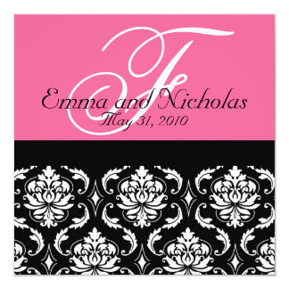 Hot PinkWedding Invitation Monogram Damask Back #4