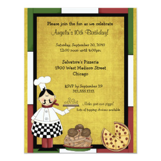 Hot Pizza Chef Party Invitation