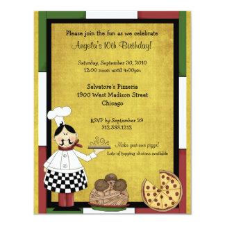 Hot Pizza Chef Party Invitation