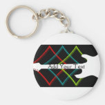 Hot Pop Colour Guitar Business Basic Round Button Key Ring