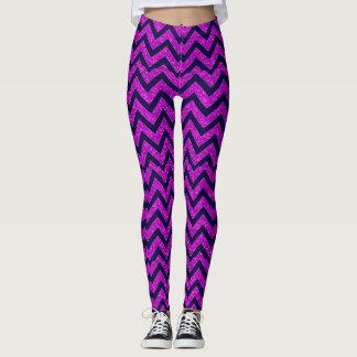 Hot Purple Chevron Glitter Pattern Custom Leggings