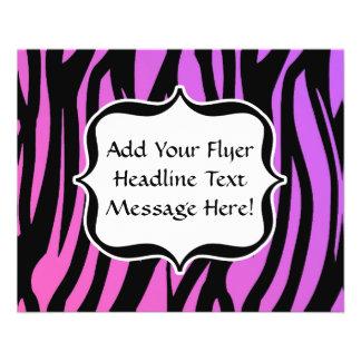 Hot Purple/Pink Zebra Stripes Monogram 11.5 Cm X 14 Cm Flyer