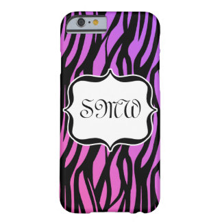 Hot Purple/Pink Zebra Stripes Monogram Barely There iPhone 6 Case