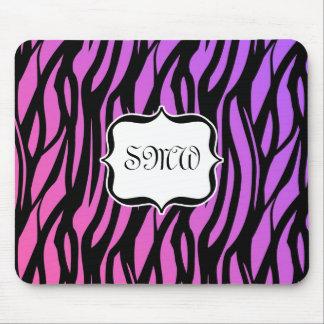 Hot Purple Pink Zebra Stripes Monogram Mouse Pads