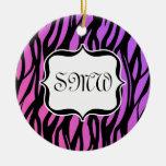 Hot Purple/Pink Zebra Stripes Monogram Ornament