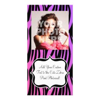 Hot Purple/Pink Zebra Stripes Monogram Photo Card Template