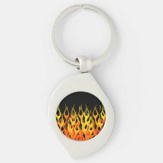Hot Racing Flames Graphic Key Ring