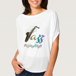 Hot Rainbow Jazz Saxophone Music Notes Ladies Top T-shirt