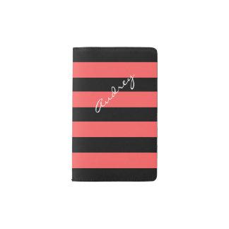 Hot Red & Black Stripe Custom Pocket Notebook
