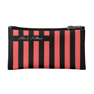 Hot Red & Black Stripe Personalized Cosmetic Bag