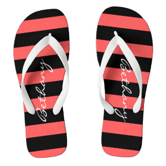 Hot Red & Black Stripe Personalized Flip Flops