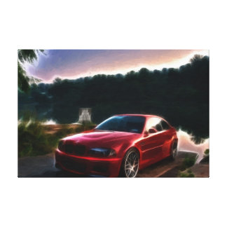 Hot Red Car Oil Painting Print Wrapped Gallery Wrap Canvas
