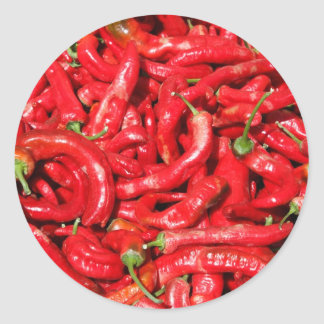 Hot Red Chili Peppers Outdoors in the Summer Sun Classic Round Sticker