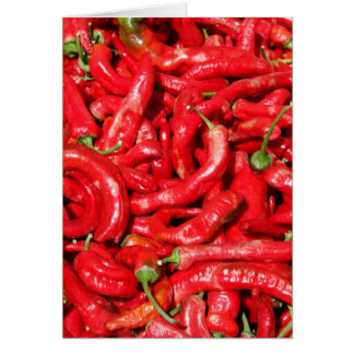 Hot Red Chili Peppers Outdoors in the Summer Sun Greeting Card