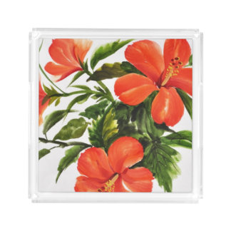 Hot Red Hibiscus Acrylic Tray