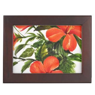 Hot Red Hibiscus Keepsake Boxes