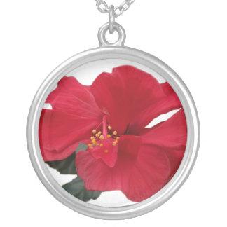 Hot Red Hibiscus Round Pendant Necklace