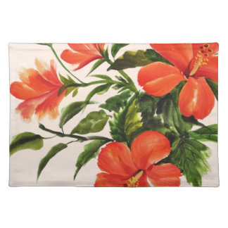Hot Red Hibiscus Placemat