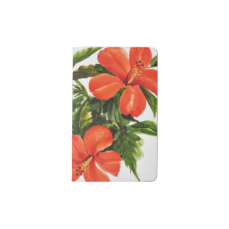 Hot Red Hibiscus Pocket Moleskine Notebook
