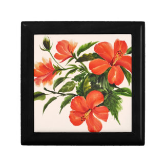 Hot Red Hibiscus Small Square Gift Box